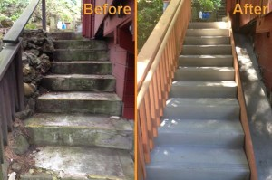 Stairs construction before and after