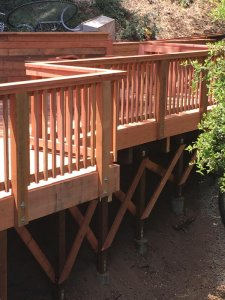 redwood deck rails